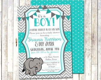 BABY SHOWER INVITATION | Grey & Teal | A little peanut is on his way | Chevron