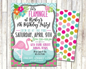 FLAMINGO BIRTHDAY INVITE | Let's Flamingle | Pool Party | Summer Birthday Invite