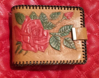 """70's Womens hand tooled wallet-boho/cowgirl/western chic vintage leather wallet """"Rose"""" free shipping!"""