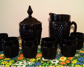 Indiana tiara cameo diamond point black glass-barware set: pitcher, ice bucket with lid and 6 glasses