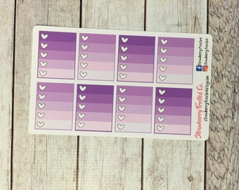 Purples Monthly Ombre Checklist Planner Stickers -Vertical Planners/