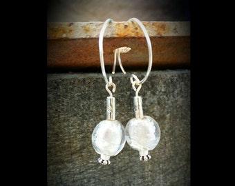 Silver & white beaded earrings