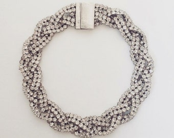 Crystal Choker Braided Rhinestone Necklace with Magnetic Closure