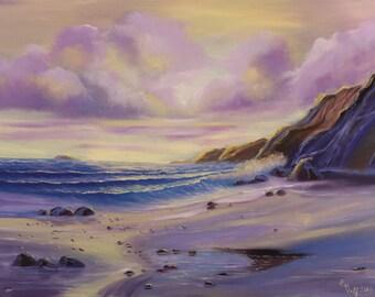 Large Realistic Ocean Oil Painting on Canvas, Seascape, Sea Painting, Original Ocean Art, Sunrise Coastal Wall Art, Ocean Waves Painting