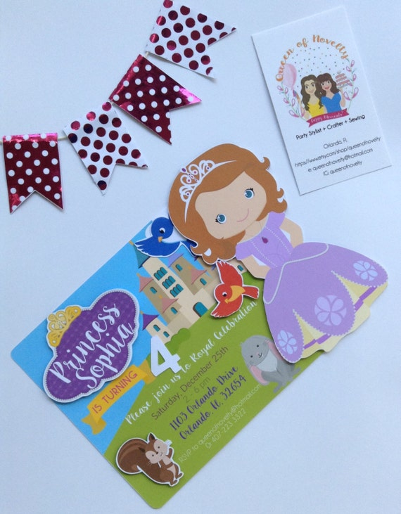 sofia the first invitation 3d birthday party baby shower