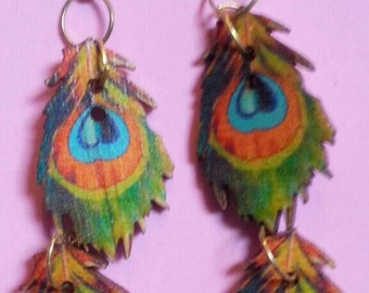 Wooden peacock feather earrings