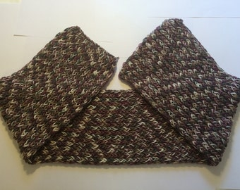Multiple colors ,white,grey,purple and brown  knitted scarf