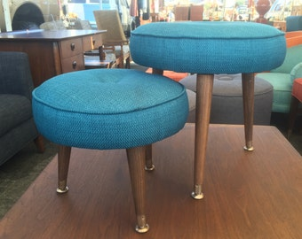 Pair if Mid century teal ottomans/bench/foot stool