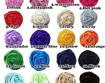 20pcs of 2.2 inches satin ribbon flowers rolled rosettes satin flowers