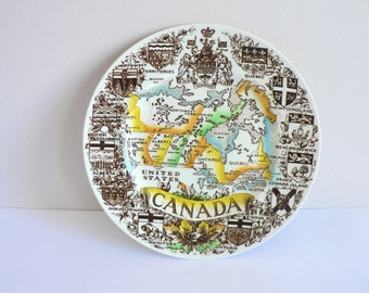 Vintage Provinces of Canada English Ironstone Plate - Made in England by Wood and Sons - Canadiana - Map of Canada Souvenir Transferware