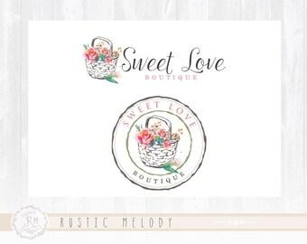 Flower Logo Design Florist Logo Farm Logo Rustic Logo Design Watercolor Logo