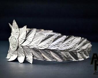 Caesar Crown, Roman Emperor Crown, Laurel Wreath Crown - Silver
