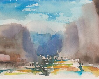 ROCKS - original watercolor painting 7X5, landscape