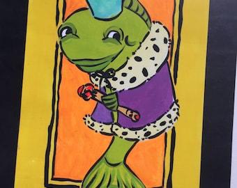 "King Fish 6"" x 9"" original gouache painting"