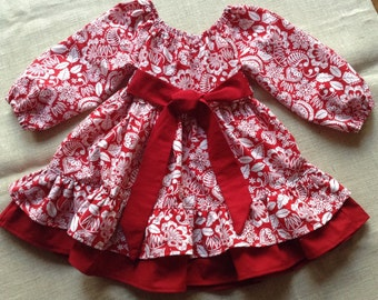 Valentine's Dress for Girls, Red and White Dress for Girls, Peasant Dress