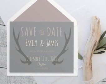 Printable Save The Date, Rustic grey and pink invitation, Antlers nature wedding, hipster wedding stationery, cheap invites, Printable PDF
