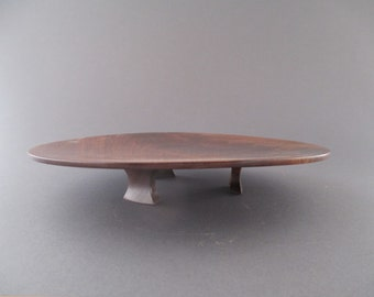 footed walnut platter 336