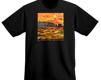 SUNSET -  unique T-shirt by Infected Graphics. Collage by R. Andler-Lipski. Beach. Party. Casual. Great gift idea.
