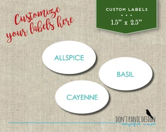 DIY Oval Printable Spice Jar Labels - Simple Turquoise Spice Jar Labels - Home Organizing - Printable Stickers - Custom Labels Custom Color
