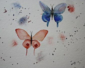 Watercolor Greeting Butterflies, Hand Painted Note Card