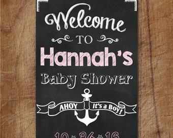 Nautical Baby Shower Welcome Sign, Ahoy It's A Boy Chalkboard Printable Sign, Custom Baby Shower Sign, Chalkboard Anchor Welcome Poster