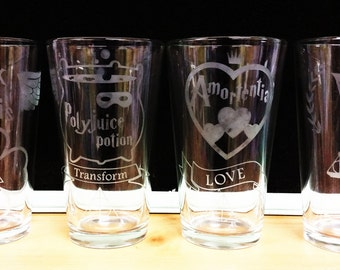 Harry Potter-inspired Potions Pint Glasses - Etched - Great gifts - Valentine's Day, weddings, anniversaries & holidays! Free shipping!