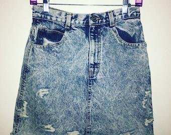 Vintage acid wash high waist distressed denim skirt.