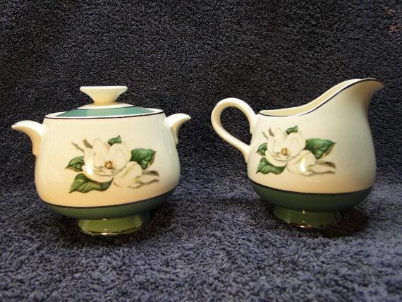 Homer Laughlin Eggshell Cavalier Green Magnolia Creamer and Sugar Set NICE