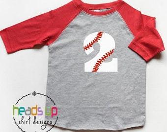 Second Birthday Baseball Shirt Toddler Boy/Girl Raglan - 2 Baseball Bday Raglan tshirt - Two Birthday Tee Boy/Girl - 2nd Bday Baseball Shirt