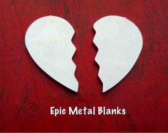 Aluminium Split Heart Stamping Blank,Broken Heart Blanks, Jewellery Blank, Jewelry Blanks, Hearts, Stamped Metal Blanks, Metal Stamping.