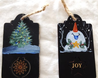 Christmas, Holiday gift tags, Ornaments Hand-painted