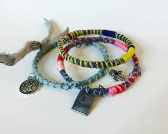 Be Brave Statement bracelets, stackable  bangles, upcycled bangle bracelets, fabric wrapped bangles, fabric bracelets, meghannswraps