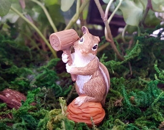 Miniature Chipmunk with Walnut and Mallet