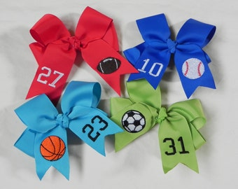 You Choose Colors…Medium or Large Hair Bow w/ Sports Design…Baseball, Football, Basketball, Soccer & more with Jersey Number or Initials