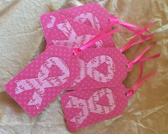 Pink Cancer Support Ribbon Tags
