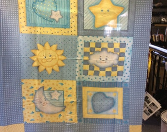 Cotton fabric, squares with clouds and stars panel in pastel colors
