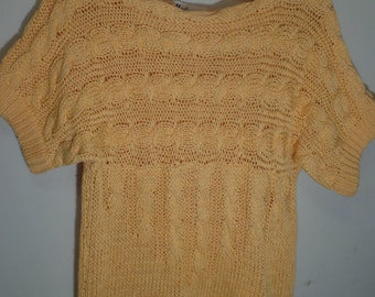 MELON ANGEL 60s handmade peach sweater,mod,Marily knitwear,Rome,Italy S