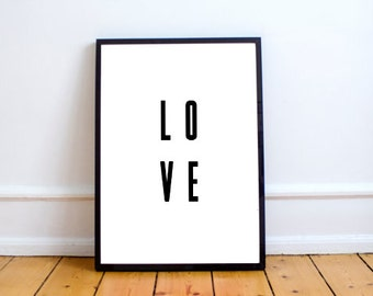 LOVE | Black And White Quote Print