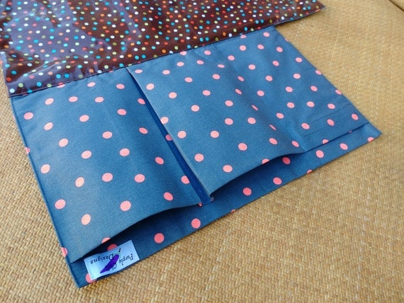 Nappy Wallet with waterproof Change Mat - nappy caddy - diaper change mat - three or two pockets-  Grey & Pink