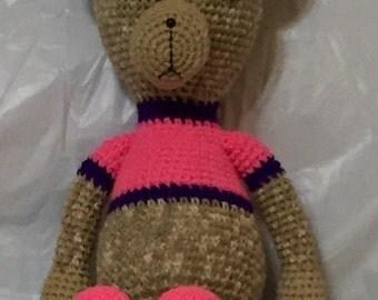 Crocheted Bear Pink Bow,Crocheted Teddy Bear, Amigurumi Bear, Stuffed Bear