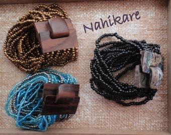 BrazaletesBoho, wood and rock ochre or colors Blue of the sea