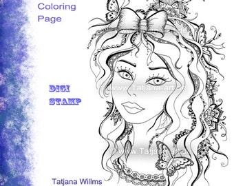 Saskia - Fantasie Doodle/Zentangle Ausmalbild Digi Stamp Adult Coloring