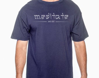 Meditate mens t-shirt / yoga wear / yoga clothing / acroyoga / acro / yoga tank top / aerial fitness / aerialist clothing - (navy)