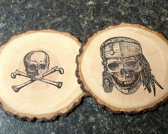 Skull & Crossbones and Pirate Handcrafted Natural Wood Coaster Set of 2