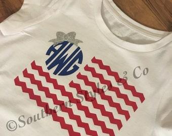 Toddler Monogramed Flag Shirt