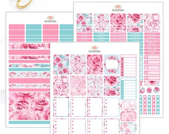 Watercolor FLoral Weekly Sticker Kit For Erin Condren Life Planner {INSTANT DOWNLOAD}