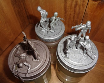 Upcycled etched army men jars