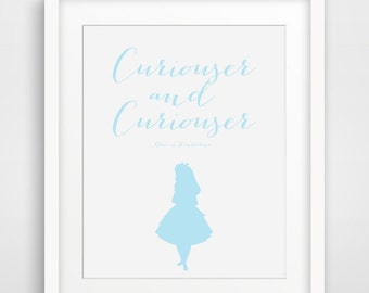 Curiouser and Curiouser, Alice in Wonderland Quote, Alice Print, Baby Blue Modern Home Decor, Lewis Carroll Quotes, Nursery Decoration