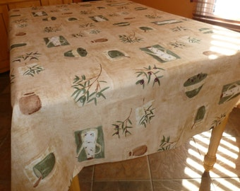 "Tablecloth Model Olive oil 100% Polyester 84 "" X 57 1/2 "" / Free shipping in Canada and USA"