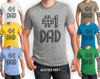 Father's Day T-shirt #1 Dad Number One Dad T-shirt Men's S-4XL Tees